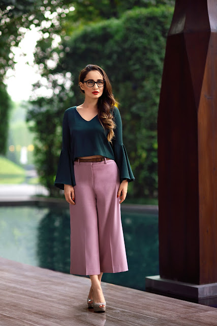 Vogue Eyewear,Spectacles, InVogueEyewear, Stephanie Timmins, Opticals, Crop Top, Culottes, Nude Heels