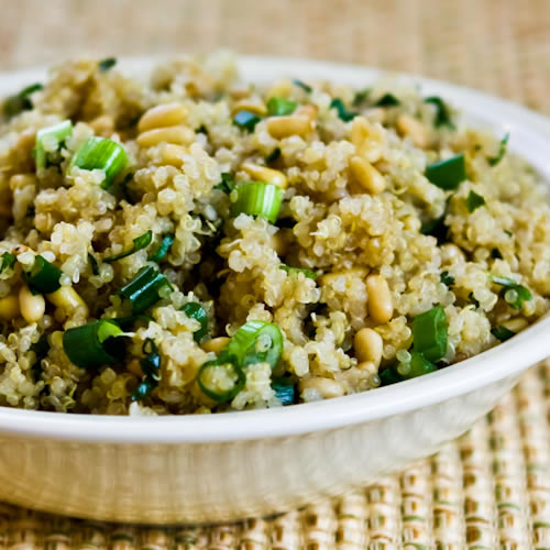 Quinoa Side Dish Recipe with Pine Nuts, Green Onions, and Cilantro (Gluten-Free, Vegan) found on KalynsKitchen.com