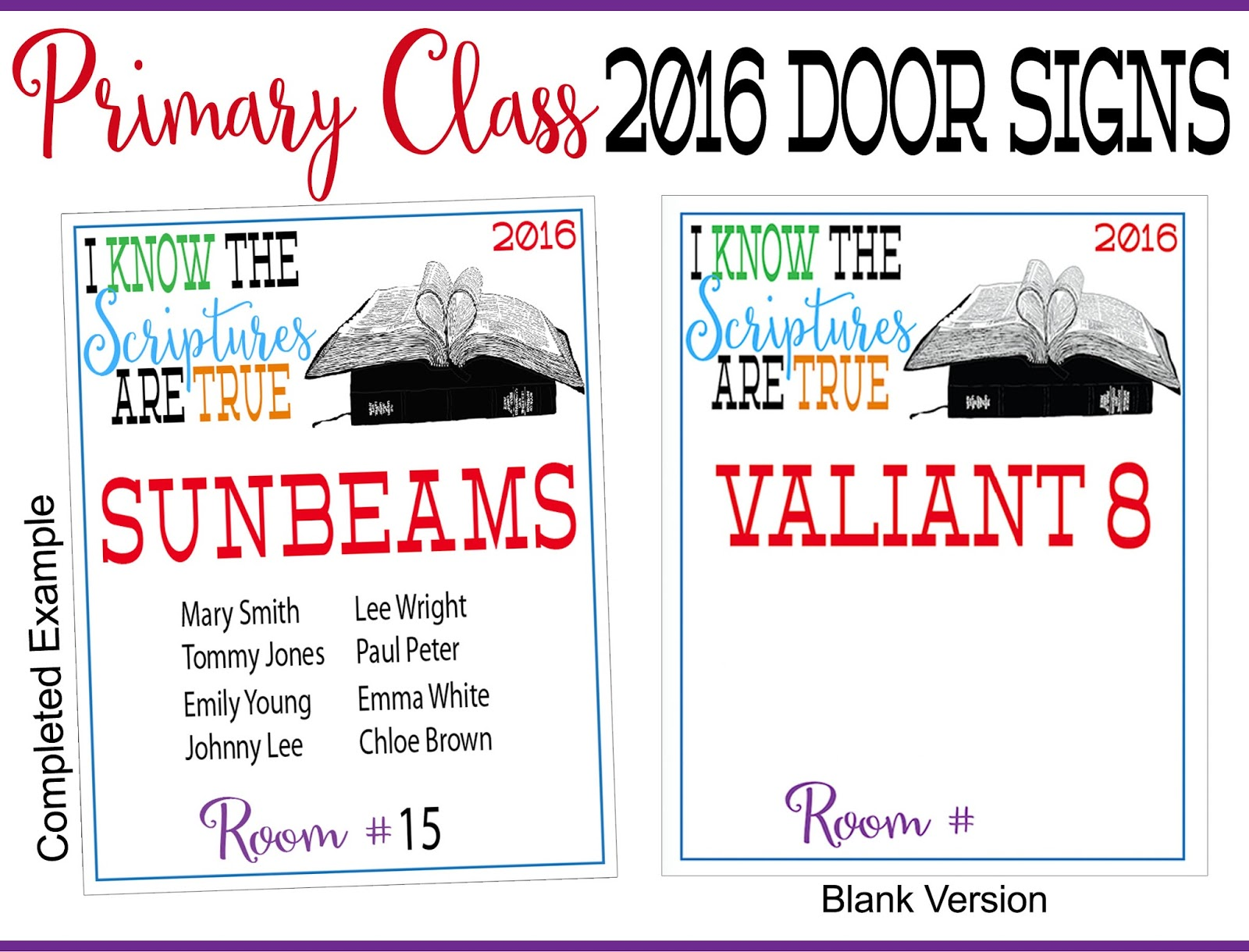 2016 primary printables i know the scriptures are true for Idea door primary 2015
