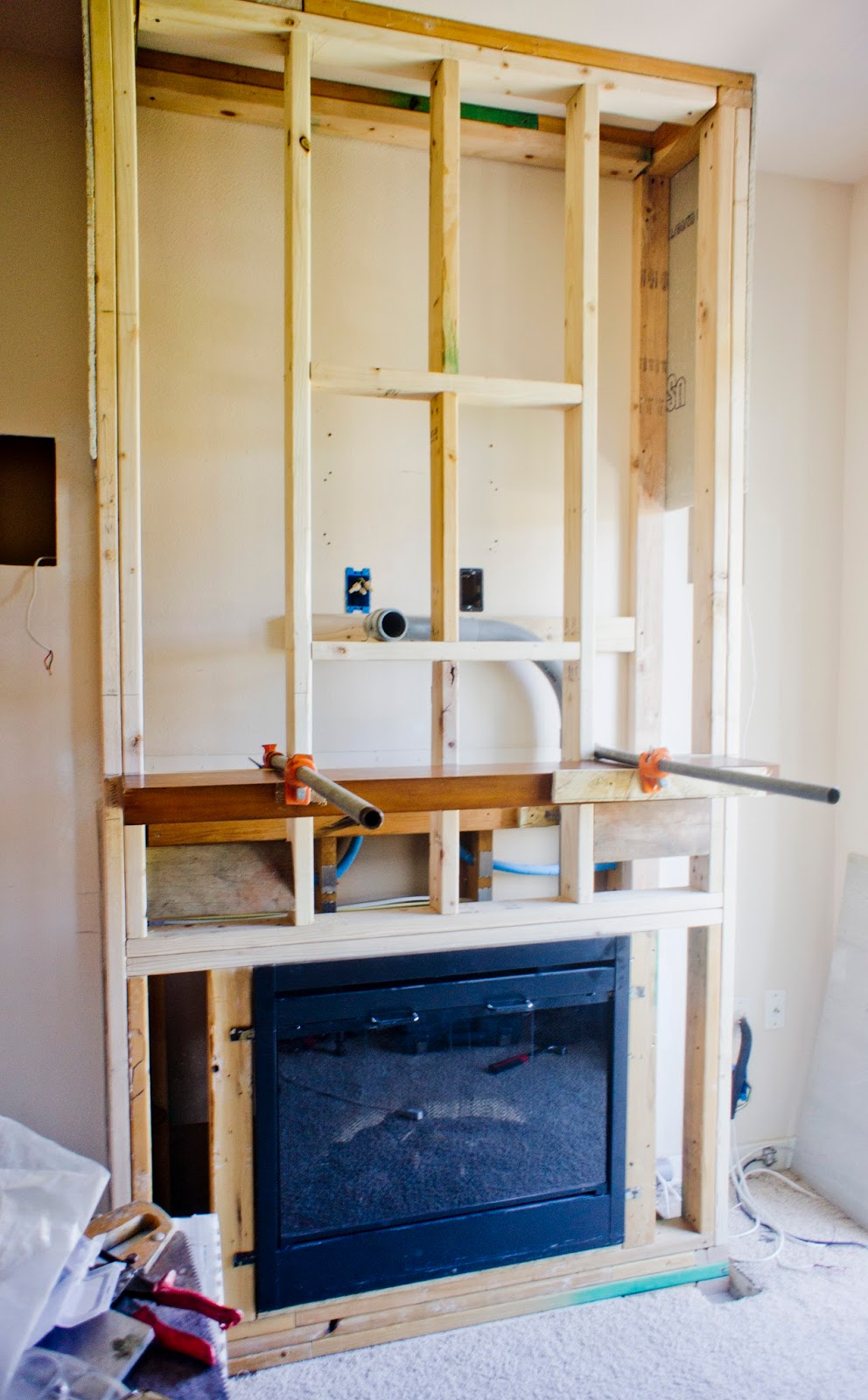 How To Build A Stacked Stone Fireplace Wall