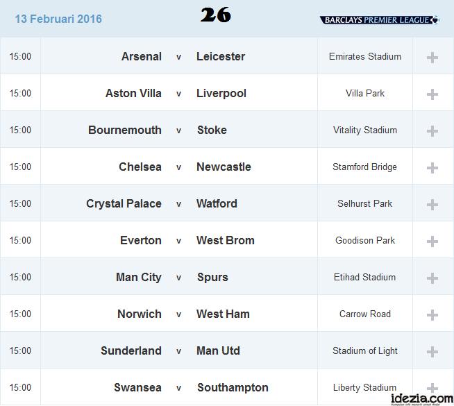 Jadwal Liga Inggris Pekan ke-26 13 Februari 2016