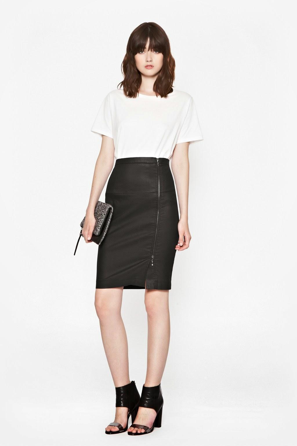 black zip skirt