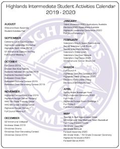 Student Activities Calendar 19-20