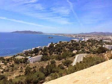 Chuck and Lori's Travel Blog - Clifftop View of Ibiza Town's Playa (Beach) Area
