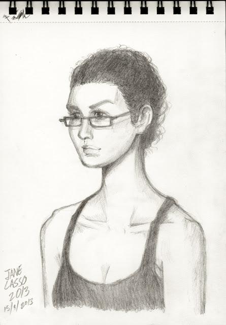 Retrato de mujer a lápiz