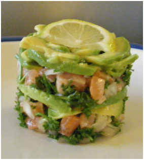 Salmon Tartar in Tupperware Moulding Ring