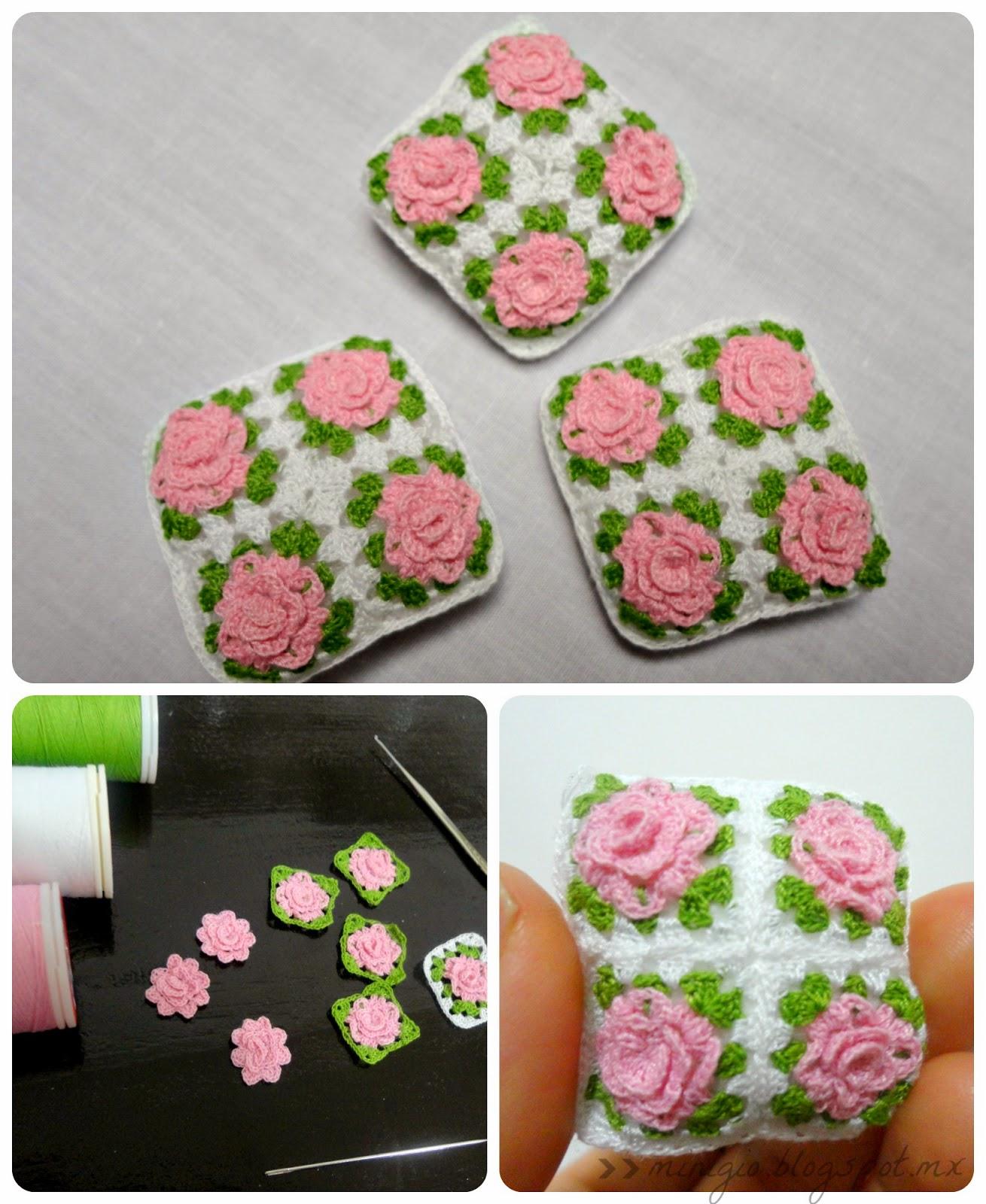 miniature cushions, pink, roses, miniature crochet