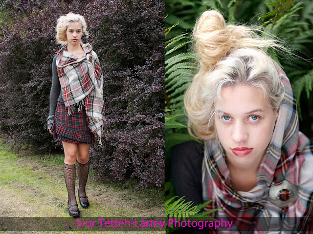 Model dressed in Scottish tartan and head shot.
