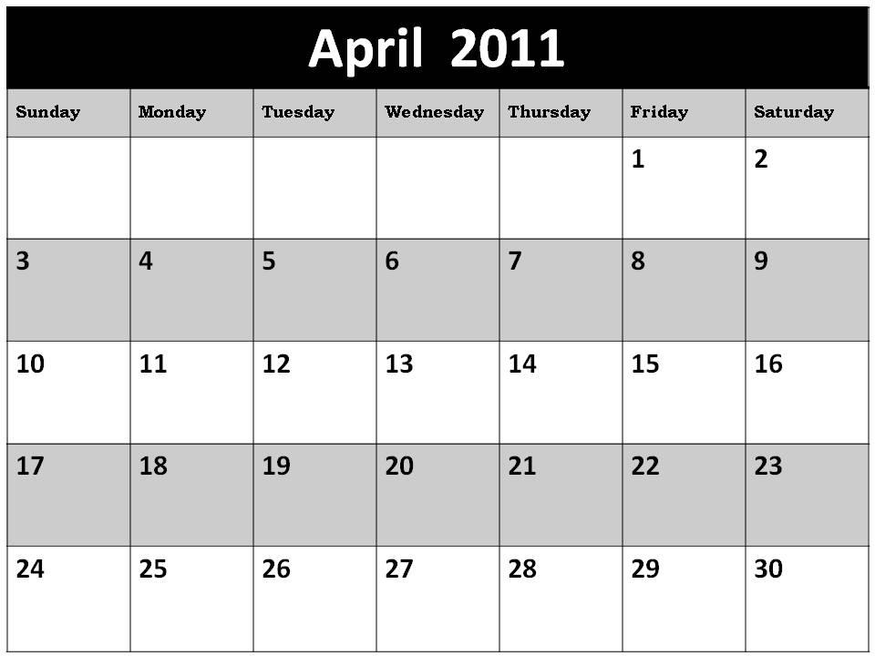 Calendar April 2011 : Arts blank calendars april
