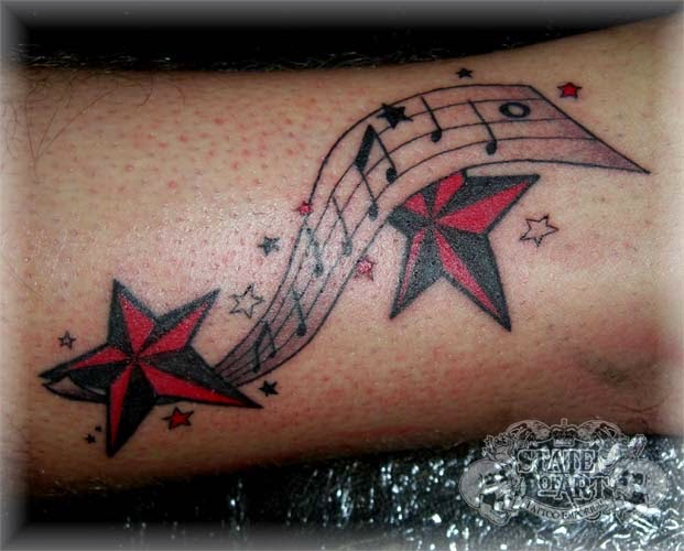 Music notes tattoos on forearm tattoos of stars and music