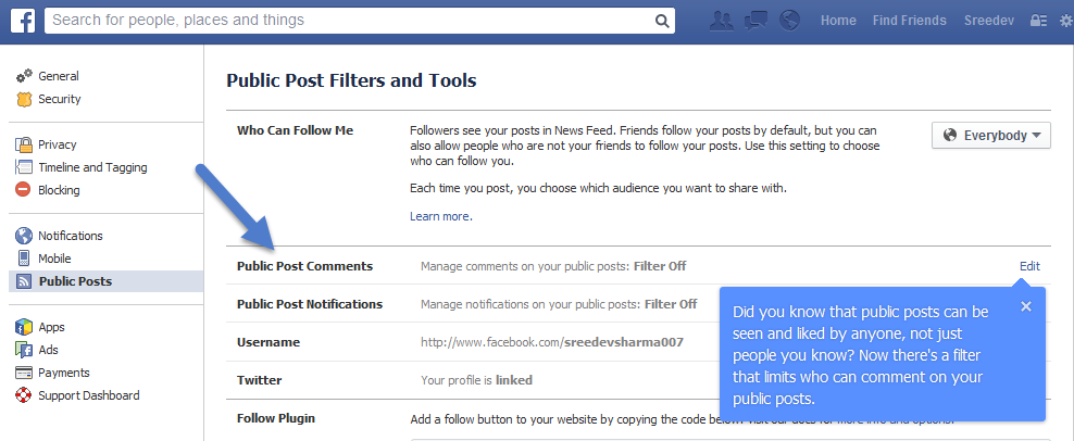 Facebook Account Settings: Public Post Comments