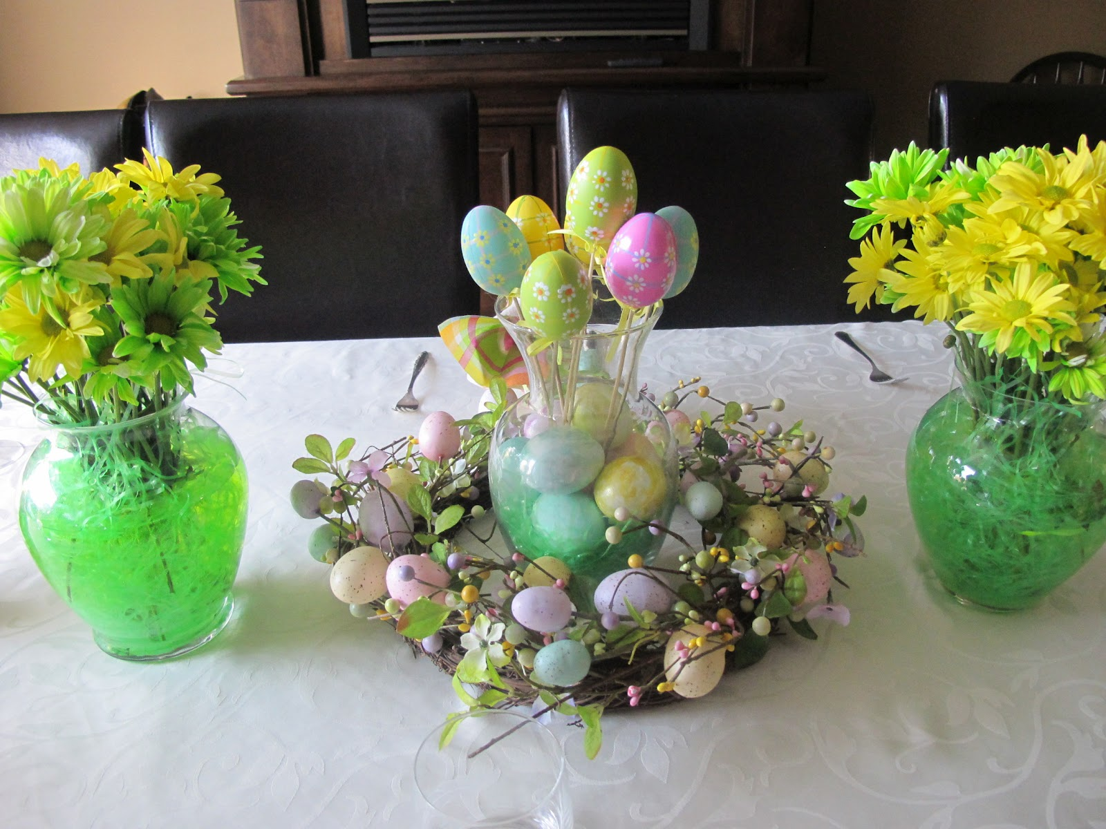 I Purchased An Easter Wreath And Set A Clear Vase Filled With Eggs Which My Kids Had Painted Then Put In Some Egg Picks Into The