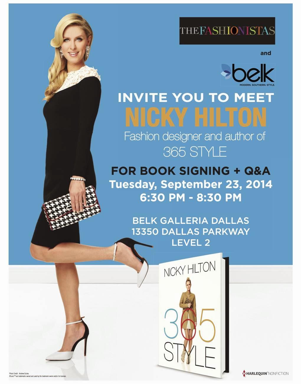 Nicky Hilton 365 STYLE Belk book signing