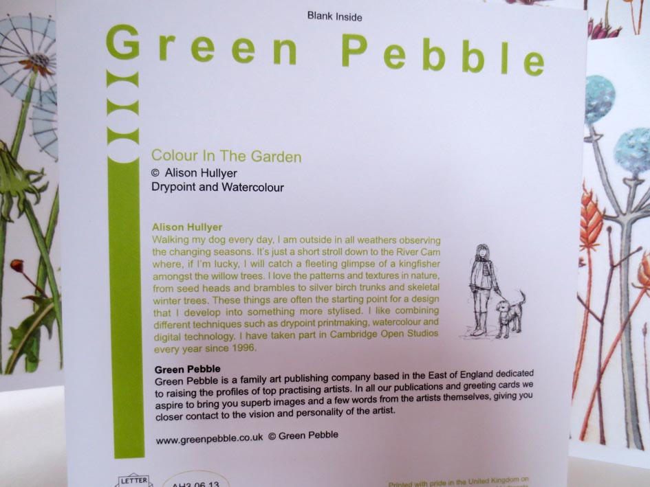 Alison hullyer green pebble cards i am pleased to announce i have had six of my drypoint and watercolour prints licensed by green pebble the 6 square cards are available to buy from their m4hsunfo