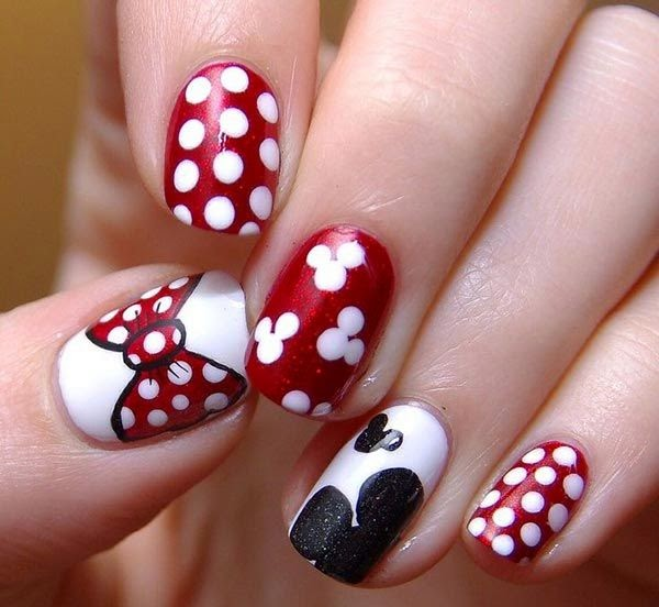 Classy Nail Art Designs for Short Nails Minnie Mouse Nail Design for Short Nails