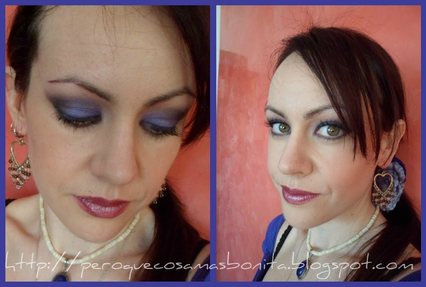 Maquillaje morado y negro
