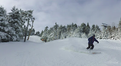 Skiing manmade pow on Hawkeye, Thursday afternoon at Gore Mountain, 02/17/2013.