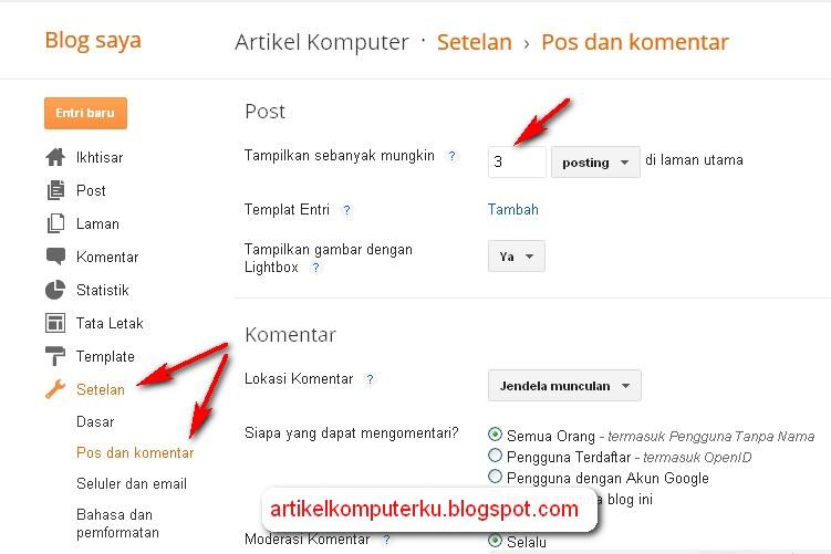 mengatur posting blog