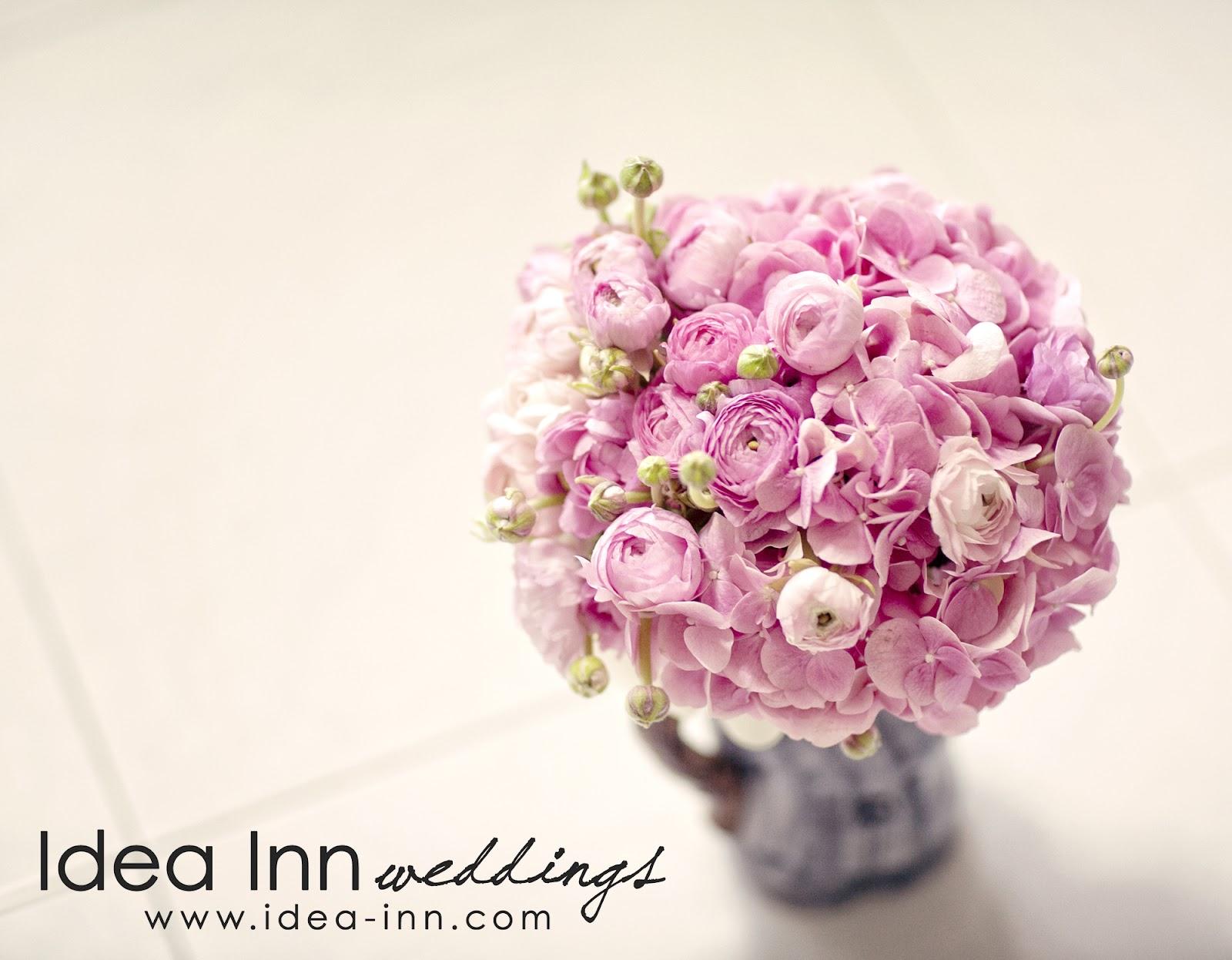wedding hand bouquet pink ranunculus hydrangea
