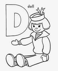 printable alphabet coloring pages doll