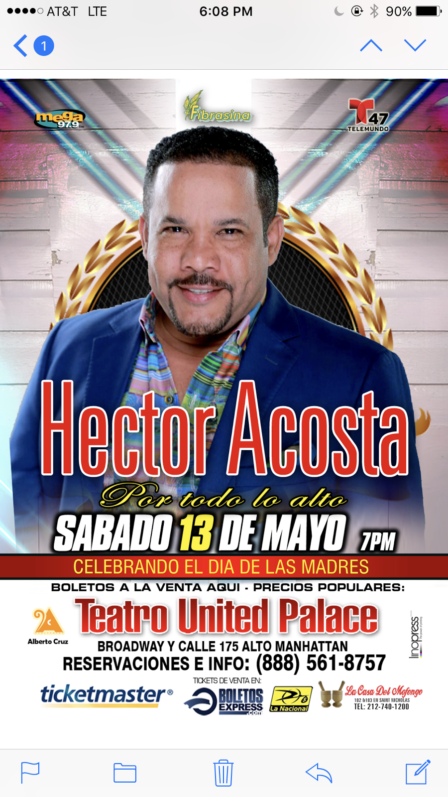 HECTOR ACOSTA EN CONCIERTO - UNITED PALACE DE NEW YORK