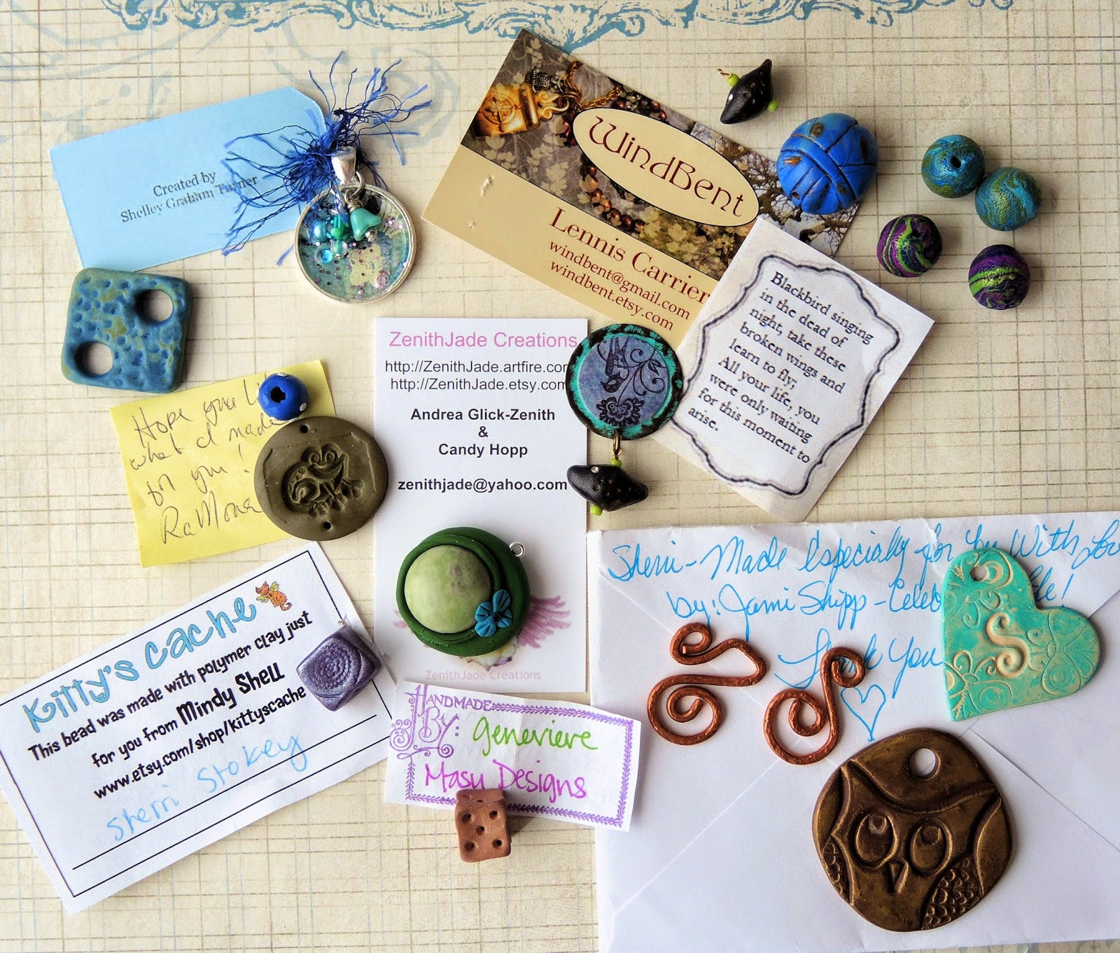 Artists' charms made of polymer clay and resin.