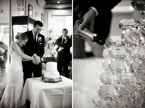 Wedding at London Rowing Club on the Thames. Cake cutting and champagne tower