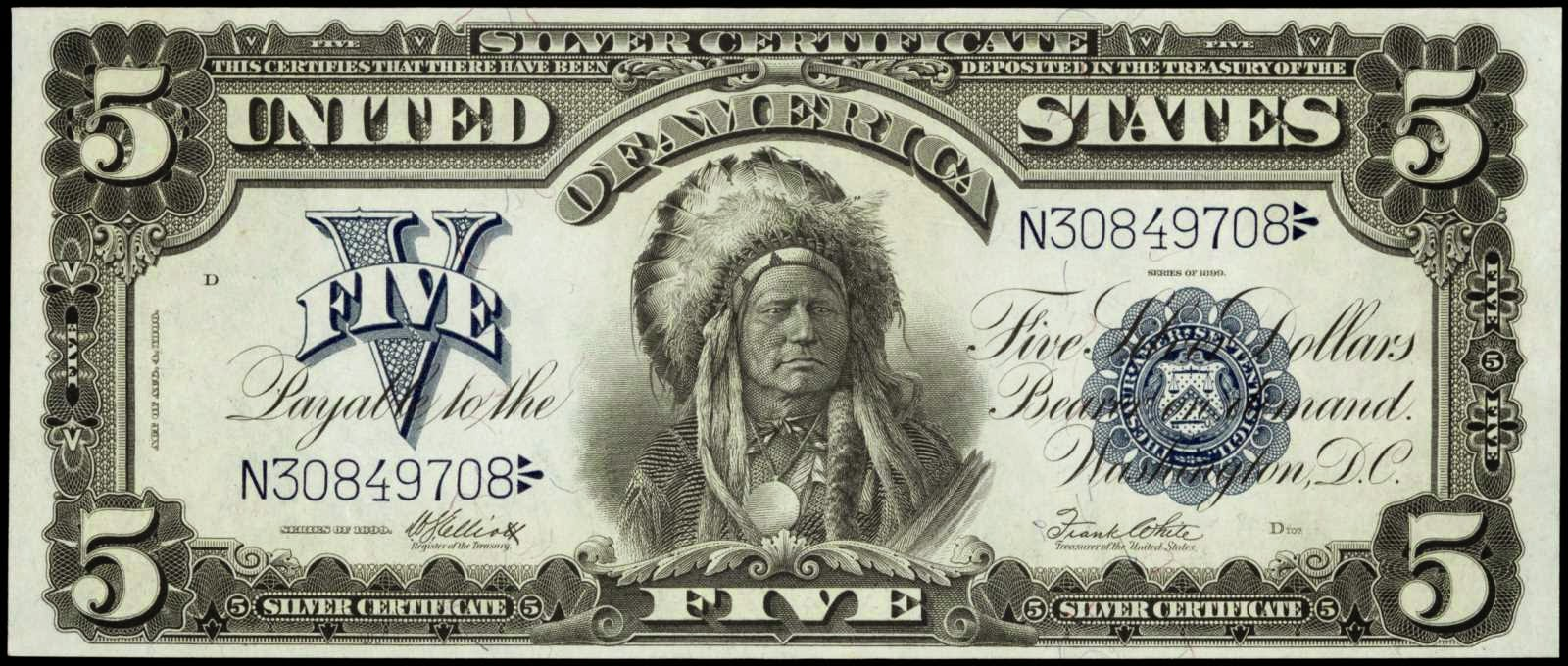 1899 5 Dollar bill Silver Certificate Indian Chief Running Antelope