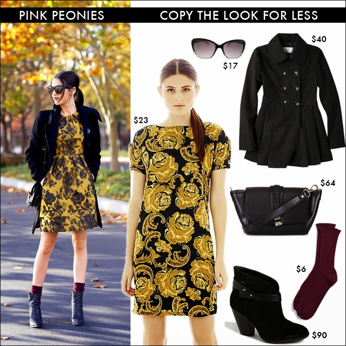 look for less, pink peonies, target, sole society, topshop, nordstrom, cateye sunglasses, floral dress, look for fall, what to wear fall, booties
