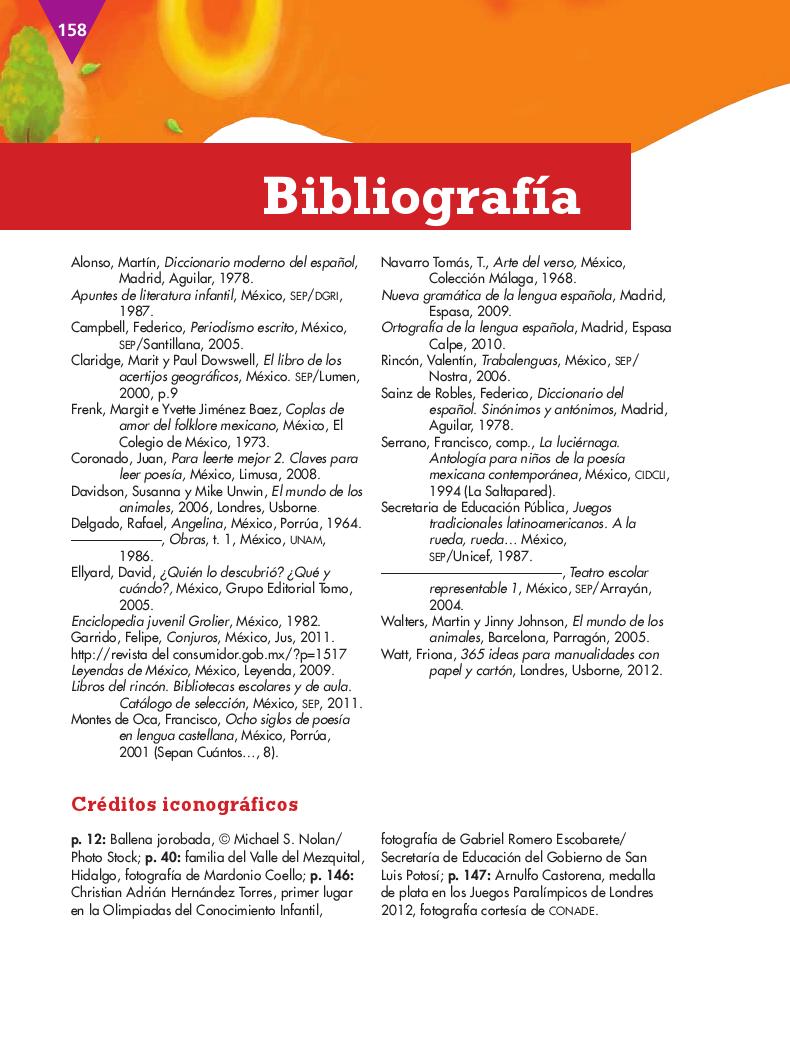 Bibliográfia - Español 4to Bloque 5 2014-2015