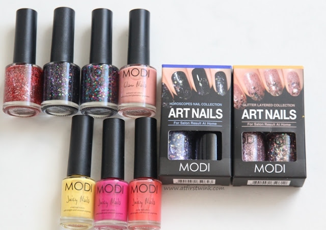 Modi nail polishes: Glam nails, juicy nails, and art nails sets.