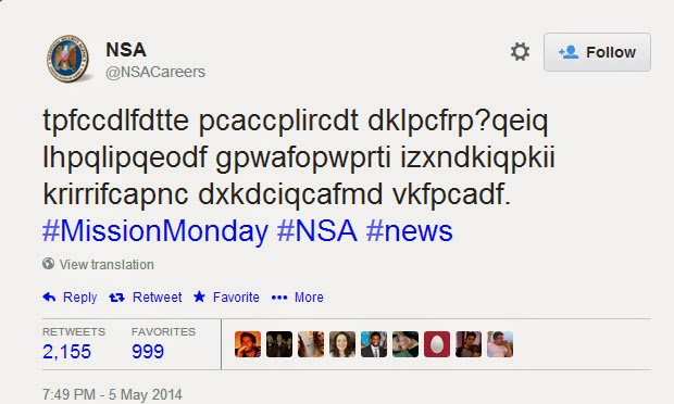 Decode NSA Tweet to get a job