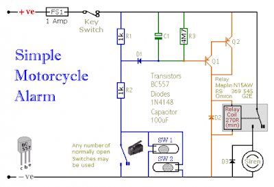 Motorcycle Alarm With Transistor Circuit Diagram