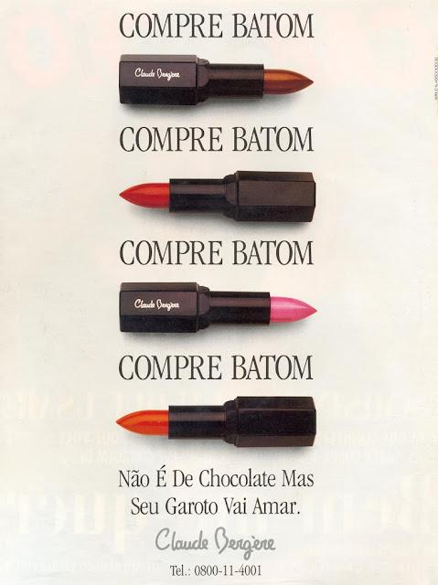 Propaganda do Batom Claude Bergère em 1993, com alusão à campanha dos Chocolates Garoto.