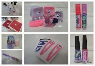 pincéis, espelho, lápis, prendedores, gloss e esmaltes da Monster High