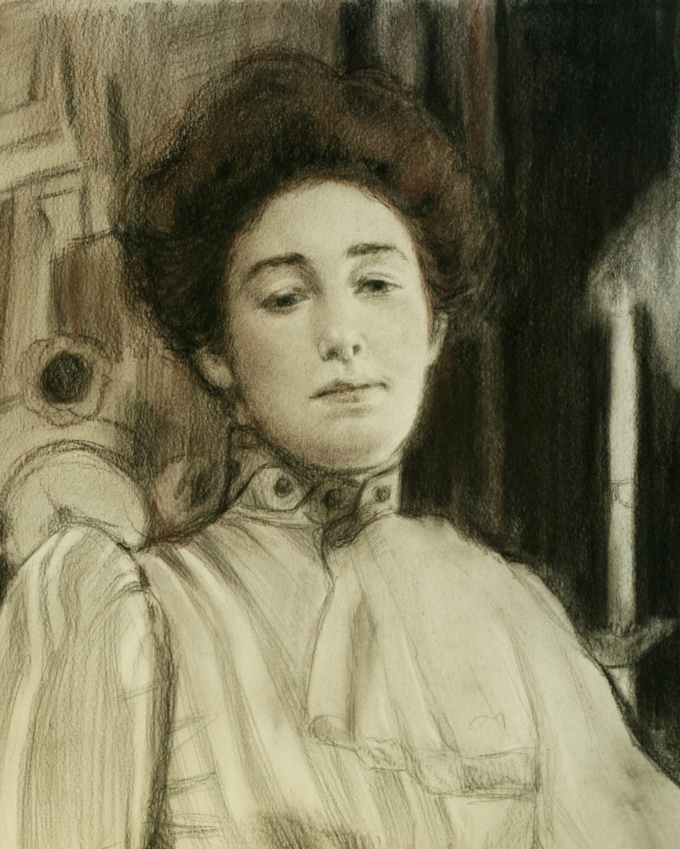 Alexandra Botkina After Repin, Charcoal And Chalk On Paper