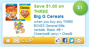 $1.00 off THREE Big G Cereals