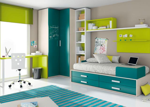 Dormitorio juvenil combinado con cama 4 cajones - Dormitorio pequeno juvenil ...