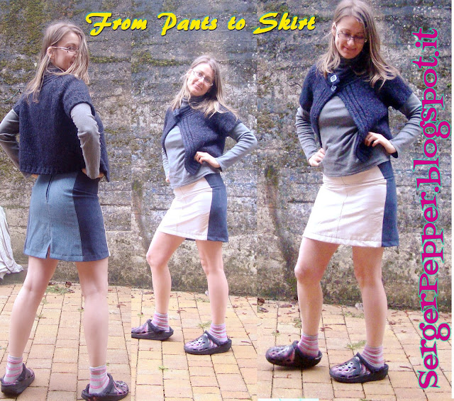 skirt from pants refashion tutorial