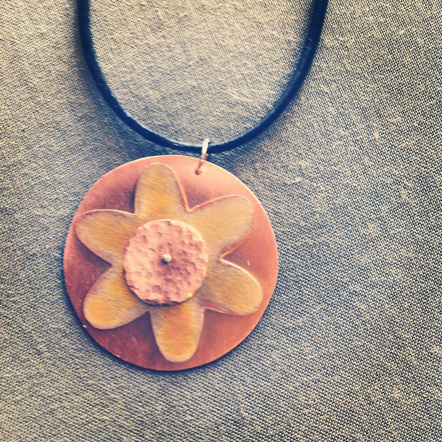 Copper flower 3 layer pendant with texture and heat patina