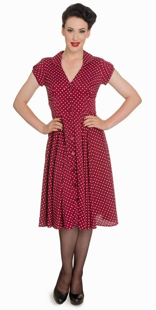 Hell Bunny Raspberry Polka Dot Dress