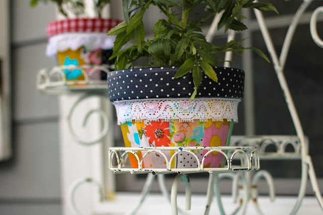 patchwork fabric plant pots