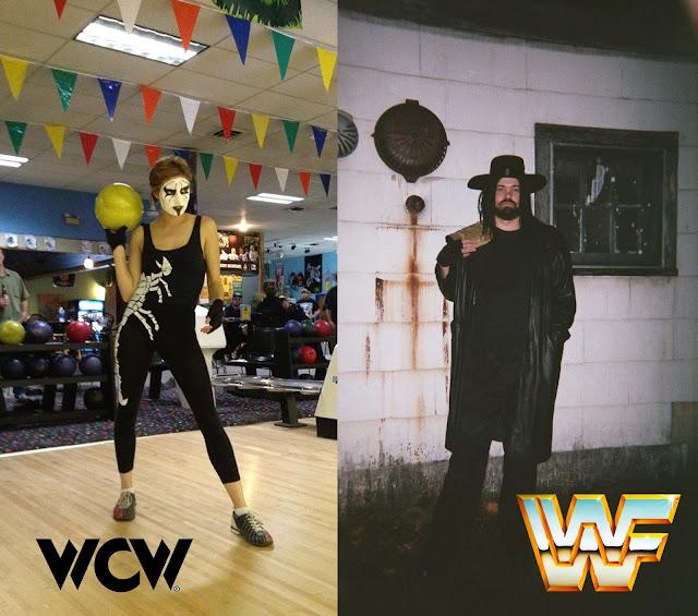 the wrestler Sting WCW homemade Halloween Costume - white scorpion bodysuit / singlet and classic facepaint. the wrestler The Undertaker WWE homemade Halloween costume with world title belt