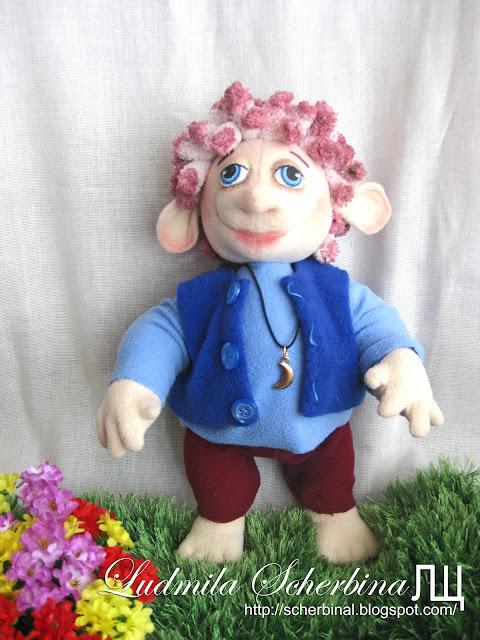 Текстильная игровая кукла игрушка Тролль