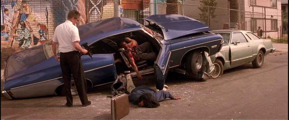 Foster and crashed car Falling Down 1993 Michael Douglas movieloversreviews.blogspot.com