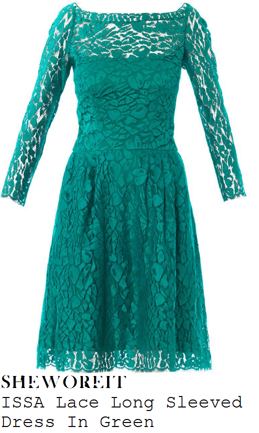 holly-willoughby-emerald-green-long-sleeve-lace-dress-celeb-juice