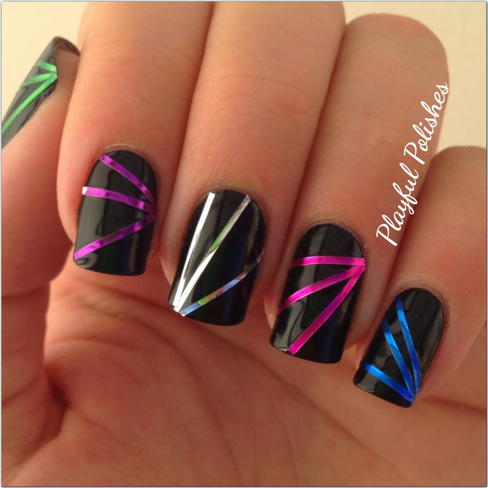 Nail Art Using Striping Tape: Playful Polishes: 31 DAY NAIL ART CHALLENGE: METALLIC NAILS