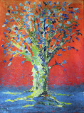 Green Tree with Blue Leaves