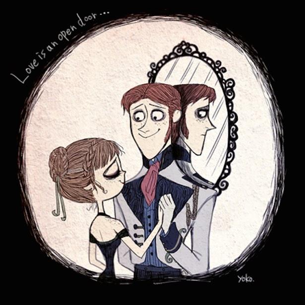 """Anna y Hans de """"Frozen"""" al estilo Tim Burton"""