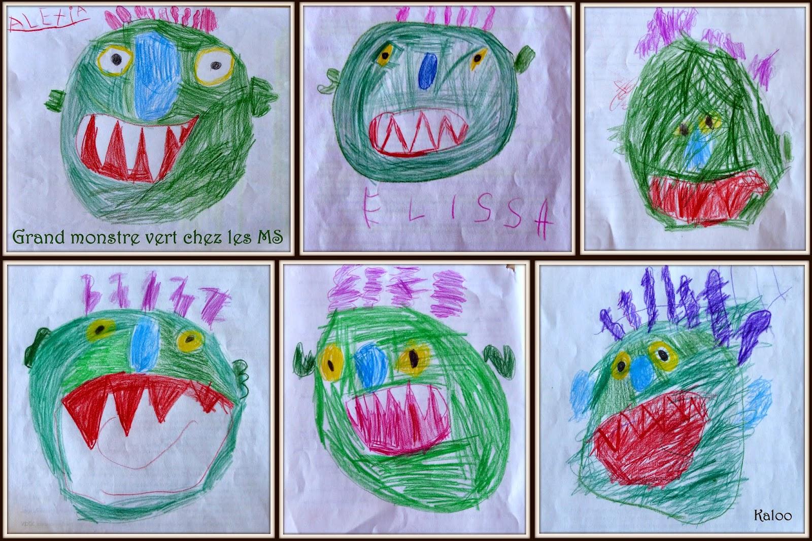 Dessin dirigé Grand monstre vert en MS